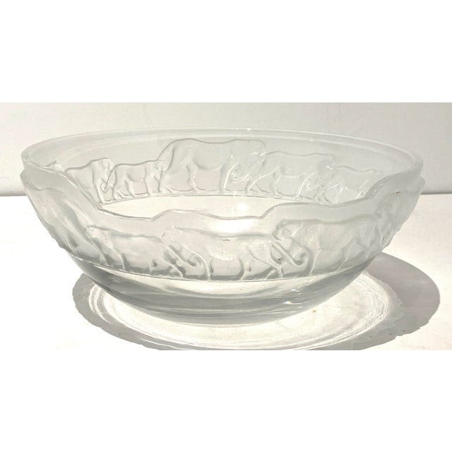 Art Deco Revival Nachtmann Safari Leopard Bowl Frosted and Clear Lead Crystal For Sale - Image 13 of 13