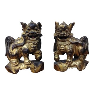 Antique Chinese Wooden Hand Carved Foo Dogs - a Pair For Sale