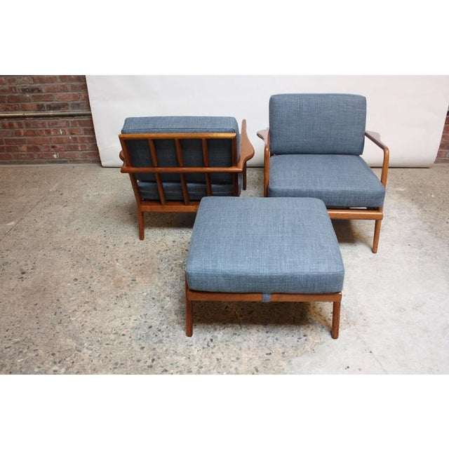 Pair of Mid-Century Walnut Armchairs and Ottoman by Mel Smilow - Image 10 of 11