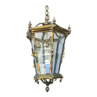 Antique Brass English Hall Lantern For Sale