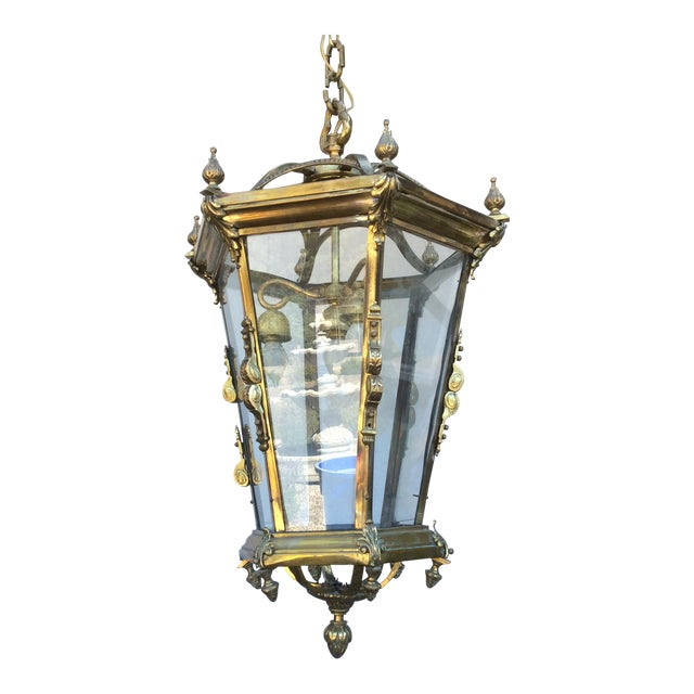 Antique Brass English Hall Lantern For Sale
