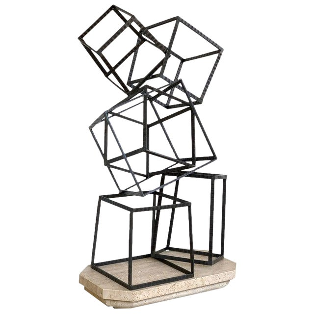 Modern Forged Iron & Travertine Quadrilaterals Sculpture For Sale