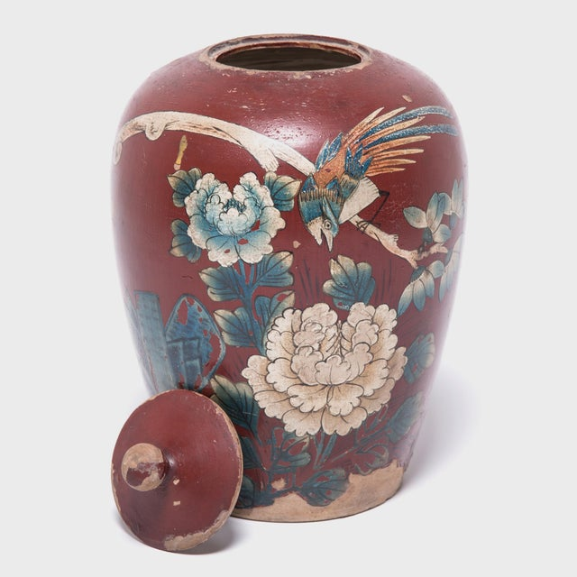 Chinese Painted Oxblood Jars With Phoenix & Peonies - a Pair For Sale - Image 11 of 13