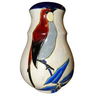 Catteau Era Ceramic Art Deco Vase With Bird For Sale