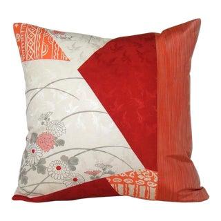 Color Blocked Floral Silk Kimono Pillow Cover For Sale