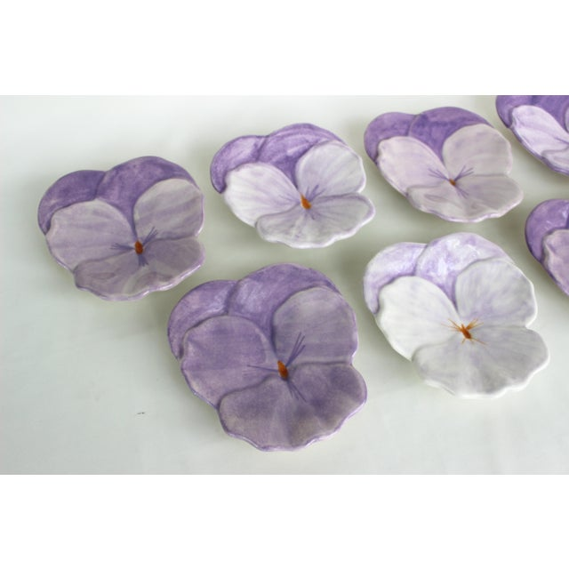 Ernestine Cannon Pansy Plates - Set of 7 For Sale - Image 4 of 9