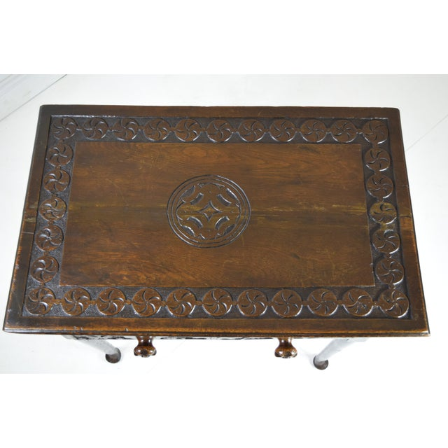 Wood 18th-Century Georgian Oak Table W/Drawer For Sale - Image 7 of 8