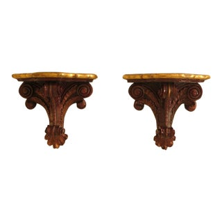Vintage Carved Wall Shelves Brackets - a Pair