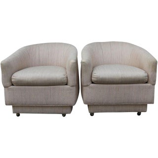 Blush Barrel Back Club Chairs - A Pair For Sale