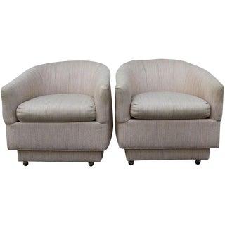 Blush Barrel Back Club Chairs - A Pair