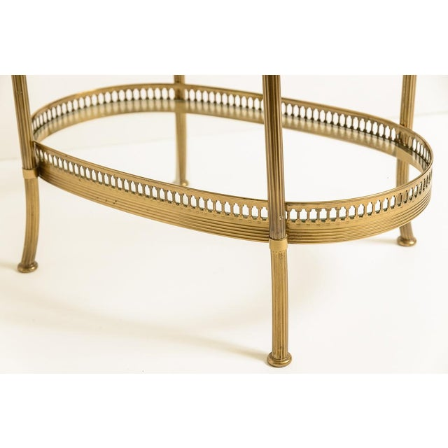 French Petite Brass Three Tier Gallery Table, After Maison Jansen For Sale In West Palm - Image 6 of 13
