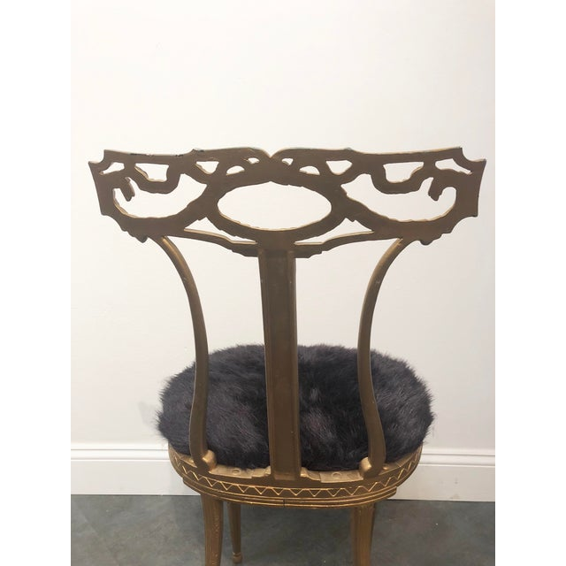 1950s Vintage Italian Neoclassical Style Gold Gilt Wrought Iron Accent Chair For Sale In Buffalo - Image 6 of 12