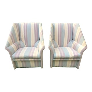 Striped Modern Wingback Chairs - A Pair For Sale
