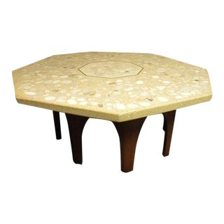 Mid-Century Modern Harvey Probber Terrazzo and Walnut Hexagon Cocktail Table For Sale