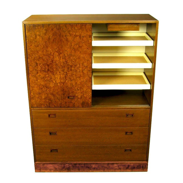 1950s Harvey Probber Olive Ash Burl, Rosewood and Mahogany Gentleman's Chest For Sale - Image 5 of 8