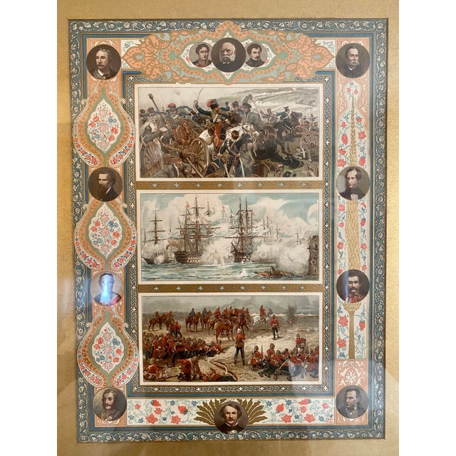 A late 19th century print depicting various battles, Generals and politicians, and inscribed to lower right B&F GAST.