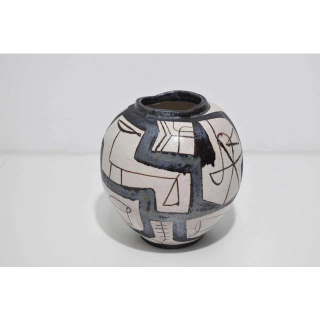 2000 - 2009 Ovoid Vessel With Geometric Design in Style of Guido Gambone, 2011 For Sale - Image 5 of 9