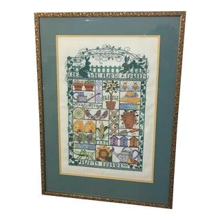 Vintage Cross Stitch Embroidery Garden & Plants Sampler For Sale