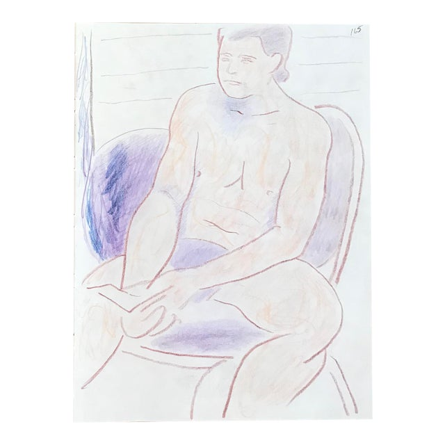 1990s Figurative Double-Sided Drawing, Male and Female Nudes by James Frederic Bone For Sale