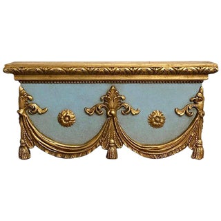 Italian Carved, Robin's Egg Blue and Gilt Neoclassical Window Cornice