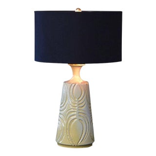 Hand Thrown Yellow Ceramic Lamp With Decorative Lines by Robert Maxwell With Shade For Sale