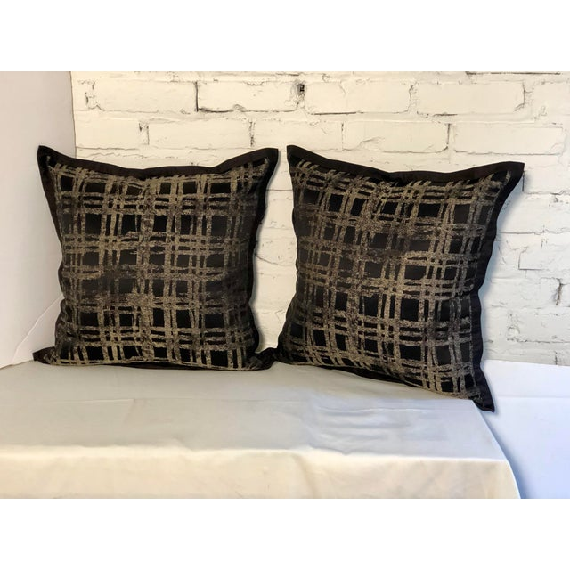 """Abstract Pair of 20"""" Black and Gilt Silk Pillows by Jim Thompson For Sale - Image 3 of 11"""