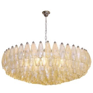 Italian Amber and Grey Polyhedral Chandelier For Sale