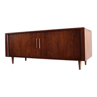 Mid-Century Modern Walnut Tambour Door Credenza / Cabinet