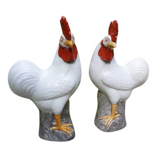 Chinese Glazed Porcelain Roosters, a Pair For Sale