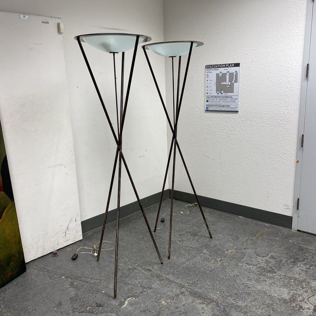 Late 20th Century Tripod Floor Lamps - a Pair For Sale - Image 4 of 13