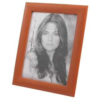 French 1970s Modern Cognac Leather Picture Photo Frame For Sale