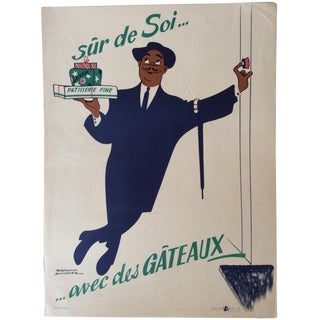 Vintage French Patisserie Advertising Poster For Sale