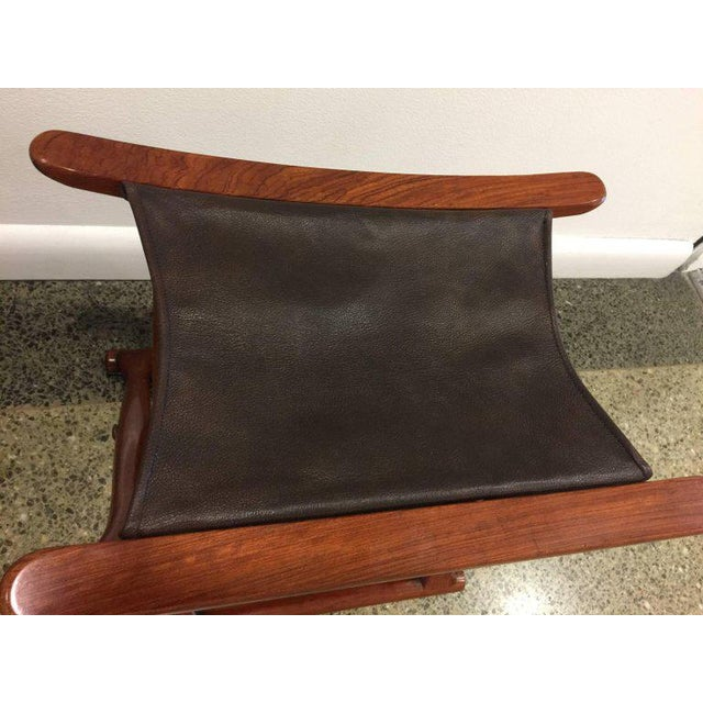 Egyptian Revival Pair of Rosewood Egyptian Folding Stools, Ole Wanscher Style For Sale - Image 3 of 4