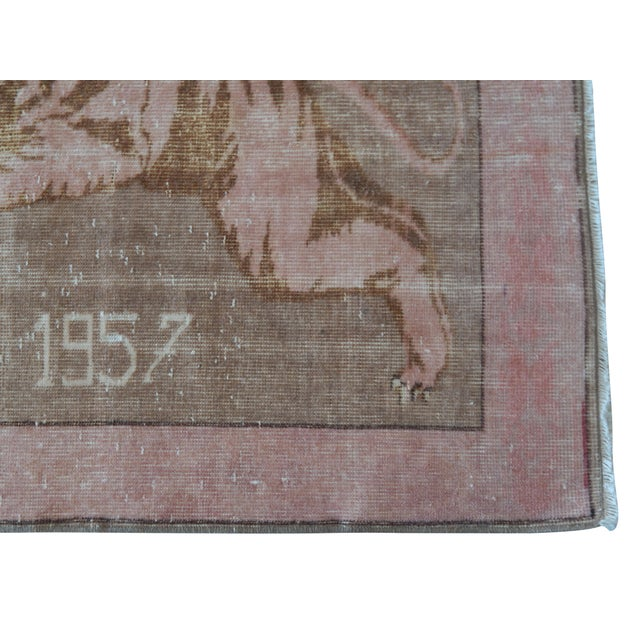 Textile 1950's Vintage Turkish Lion Pictorial Rug 3′1″ × 4′1″ For Sale - Image 7 of 12