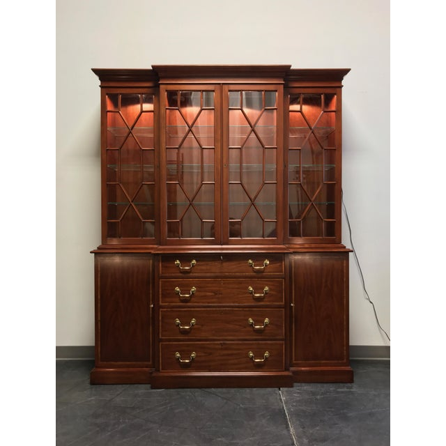 Henkel Harris Solid Wild Black Cherry Chippendale Breakfront China Cabinet For Sale - Image 13 of 13