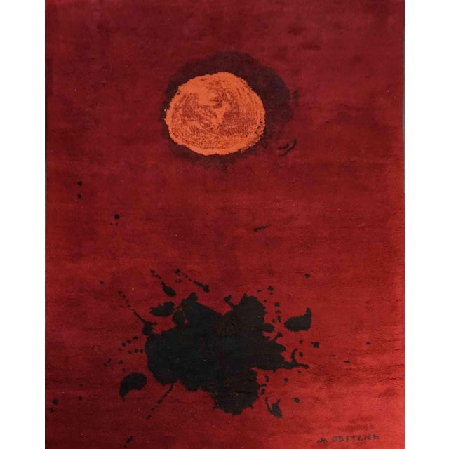 "1970s Exclusive Wool Rug After Adolph Gottlieb, ""Burst"" For Sale - Image 5 of 5"