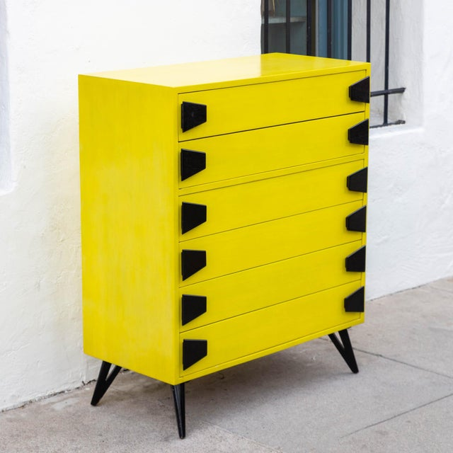 Rare! Chartreuse Mid-Century 6 Drawer Highboy Dresser With Black Atomic Handles And Legs! This is the perfect piece for a...