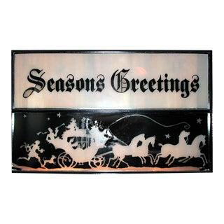 """Handpainted """"Seasons Greetings"""" Vintage Window Sash For Sale"""