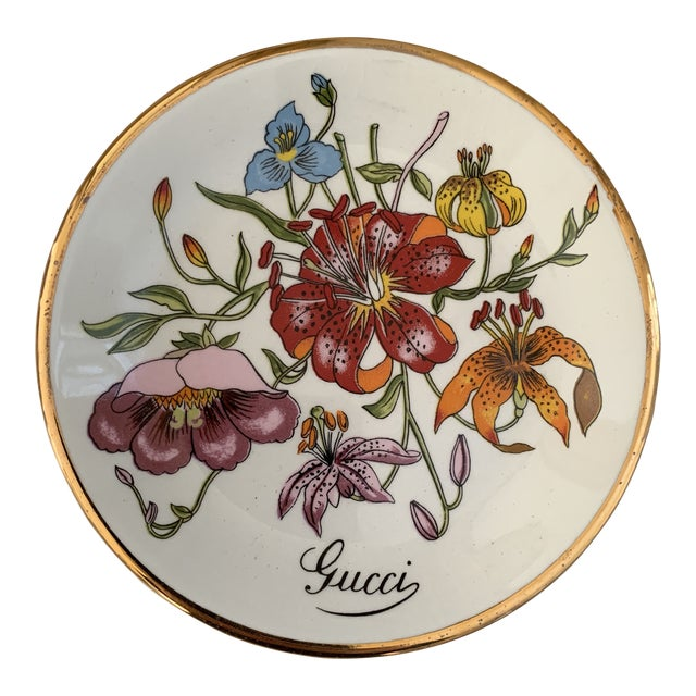 Vintage Gucci Accornero Floral Catchall Ashtray For Sale