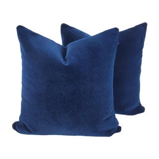 Oversized Two-Sided Designer Blue Mohair Pillow - a Pair