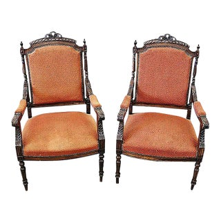 French Louis XVI Style Carved Fauteuil Armchairs- A Pair For Sale
