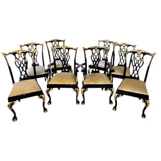 Black Lacquer & Gilded Chippendale Dining Chairs - Set of 8