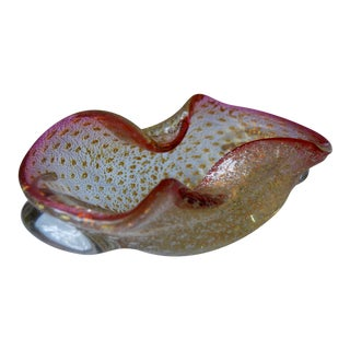 Vintage Murano Bullicante Pink Silver Gold Flakes Controlled Bubble Glass Bowl For Sale