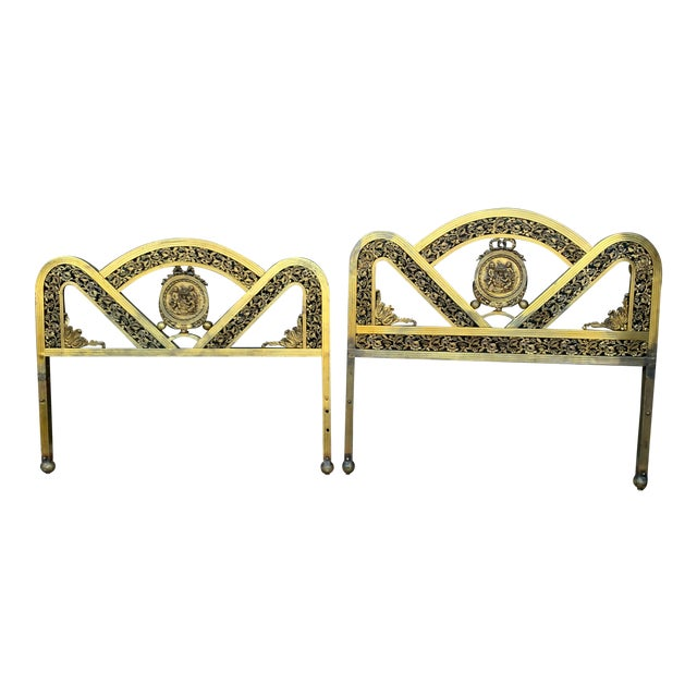French Art Deco Brass Bed in Full For Sale