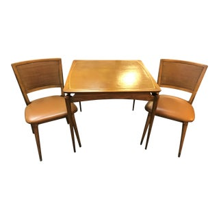 Mid-Century Modern Wlliam A. Berkey for John Widdicomb Game Table With Leather Top and Two Chairs - 3 Pieces For Sale