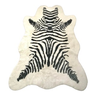 Black and White Faux Leather Zebra Print Rug