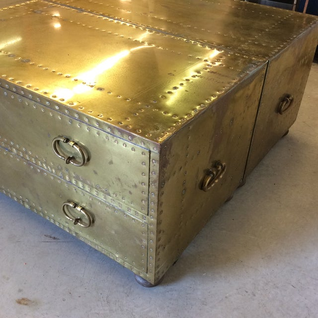 Sarreid Brass Chests Trunks- A Pair - Image 9 of 11