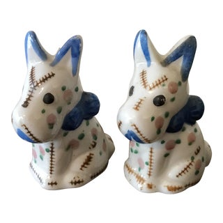 1950's White Scottie Dog Shakers- A Pair