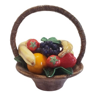 Mid-Century Traditional Hand Painted Trompe l'Oeil Faience Fruit Basket For Sale