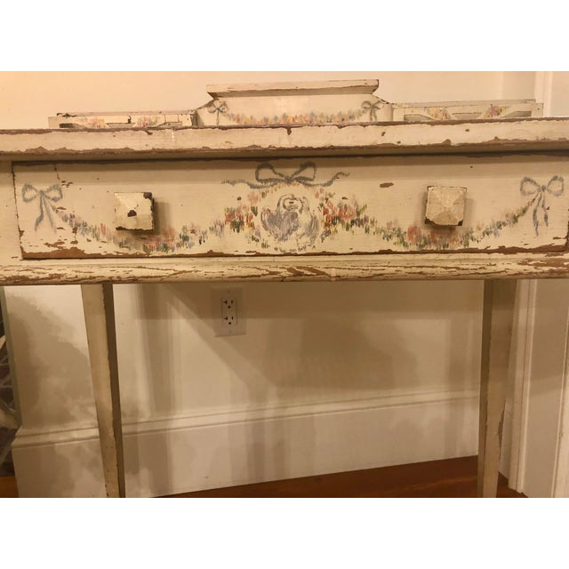 Wood Antique Shabby Chic Hand Painted Floral Writing Desk For Sale - Image 7 of 11